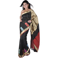 Black Banarasi Handloom Sari with Woven Flowers on Border and Brocaded Aanchal