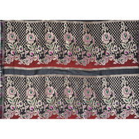 Black Banarasi Brocaded Fabric from Banaras with Woven Flowers and Polka Dots