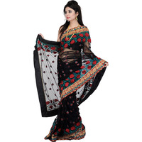 Black Designer Sari with All-Over Embroidered Flowers and Sequins