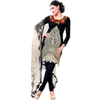 Black Choodidaar Kameez Suit with Embroidered Flowers in Ivory Thread