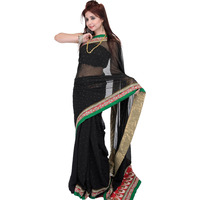 Black Designer Sari with Mokaish Work and Zardozi Patch Border