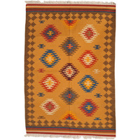Apricot-Tan Handloom Dhurrie from Sitapur with Woven Ikat Motifs