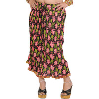 Black Crinkled Midi-Skirt with Printed Flower and Gota Border