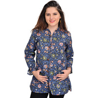 Allure-Blue Floral Printed Reversible Jacket from Pilkhuwa with Straight Stitch