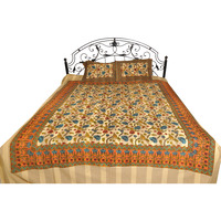 Bedsheet from Pilkhuwa with Printed Flowers and Stripes
