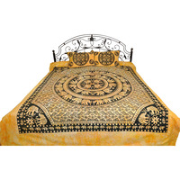 Batik-Dyed Bedsheet from Pilkhuwa with Printed Mandala of Elephants