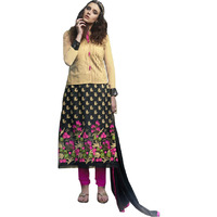 Biscotti and Black  Long Choodidaar Kameez Suit with Embroidered Flowers and Sequins