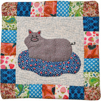 Applique Cat Cushion Cover from Dehradun with Kantha Stitch
