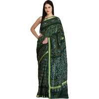 Bistro-Green Bandhani Gharchola Sari from Jodhpur With Zari Weave