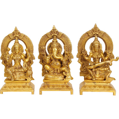 Set Three Statues - Lakshmi, Ganesha and Saraswati