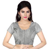 TrendyFashionMall Ready Made Designer Art Silk Saree Blouse Collection! (Color:SILVER, Size:X-SMALL - 36)