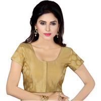 TrendyFashionMall Ready Made Designer Art Silk Saree Blouse Collection! (Color:GOLD, Size:X-SMALL - 36)
