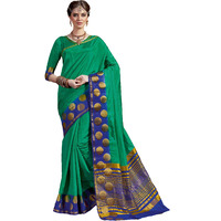 Attractive Green Tussar Silk Traditional Saree