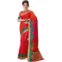Adorable Red Tussar Silk Traditional Saree