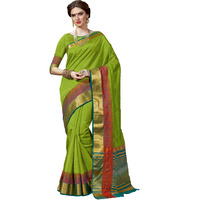 Trendy Parrot Green Tussar Silk Traditional Saree