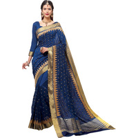 TrendyFashionMall Women's Beautiful Navy Blue Fancy Silk Saree with scarf