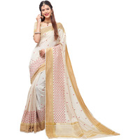 TrendyFashionMall Women's Lovable Off White Fancy Silk Saree with Double Blouse