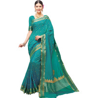TrendyFashionMall Women's Sincere Teal Fancy Silk Saree with scarf