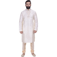 Ethnic Men Cream Indian Designer Kurta 2pc Suits