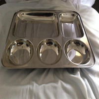 Stainless Steel Rectangle Thali With 5 Compartment