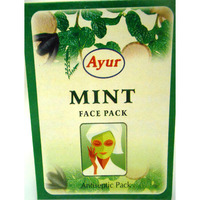 2 Pack Ayur Mint Face Pack Powder Antiseptic Soothes Skin Heals Pimples - 100 g