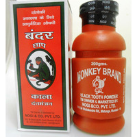 Monkey Brand Natural Black Tooth Powder For Gums Pain & Whitenining - 200 Gm