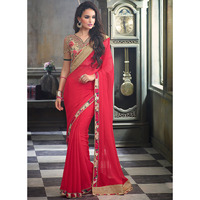 Bedazzling Red Chiffon Saree