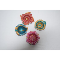 Designer Decorative Clay DIya/Terracotta Diya (Set of 4 pieces)