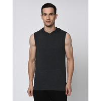 Rigo Charcoal Hoodie With Kangaroo Pocket Sleeveless Tshirt  For Men (Size: L)