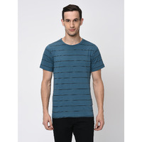 Rigo Blue Black Printed Stripe Tshirt-Half For Men (Size: S)
