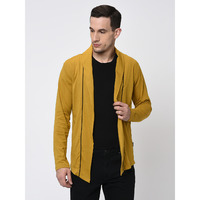 Rigo Mustard With Contrast Detailing Open Long Cardigan-Full For Men (Size: S)