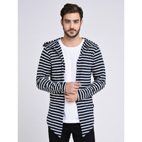 Rigo Navy White Striped Hooded Open Long Cardigan-Full (Size: S)