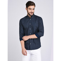 Rigo Printed Navy Button Down Collar Shirt-Full (Size: M)