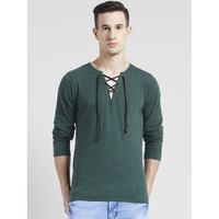 Rigo Bottel Green Self Textured Tie Neck Full Sleeve T-Shirt For Men (Size: S)