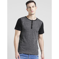 Rigo Charcoal Grindle With Contrast Henley Half Sleeve T-Shirt For Men (Size: S)