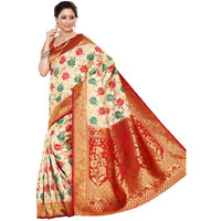 Festive Wear Traditional Kanjivaram Art Silk Saree with Un-Stitched Blouse in Color Off-White