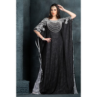 Women's Fashion Chic Black and White color designer hand crafted Dress Kaftan Ethnic wear