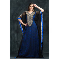 Women's Fashion Exclusive Self printed handwork Dress Kaftan Ethnic wear Black and Blue