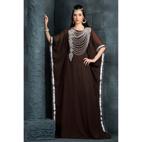 Women's Fashion exquisite Traditional Embroidered Dress Kaftan Ethnic wear Brown