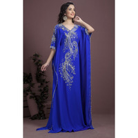 Women's Fashion Beautiful Embroidered Georgette Crepe Arabic Dress Caftan Ethnic wear Blue