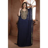 Women's Fashion Modern Dress Kaftan Ethnic wear Dress Hand beaded Dark Blue