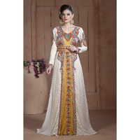 Off White and Golden Color Moroccan Hand beaded Caftan Ethnic wear