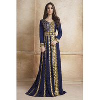 Gleaming Blue Color Party Wear Full sleeve Black beading around the neck Long Sleeve Kaftan Ethnic wear