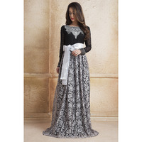 Evening Dress Black and Gray color Gown Arabic dubai party Maxi Dress