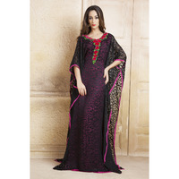 Black and Pink Thread Work and Ribbon Work Free Size Kaftan Ethnic wear