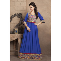 Royal Blue Color Casual Maxi Dress With French Crepe and Lace Work
