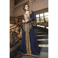 Dark Blue Thread Work style fabric dubai party Wear Designer Kaftan Ethnic wear