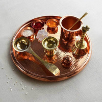 Diona Copper Pooja Platter Set