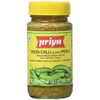 Priya Green Chilli Pickle No Garlic - 300 Gm