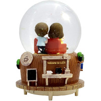 Luxury Rotating Couple Dome With Music And Light For Gifting/ Home Decor (Dark Brown) Best Home Decor Showpiece Figurine